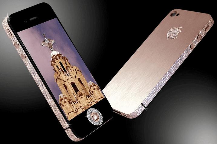 Рис. 6. iPhone 3G с огромным бриллиантом в виде кнопки.