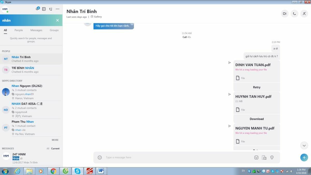 Рис.8 – Ошибка отправки файлов и сообщений в чате