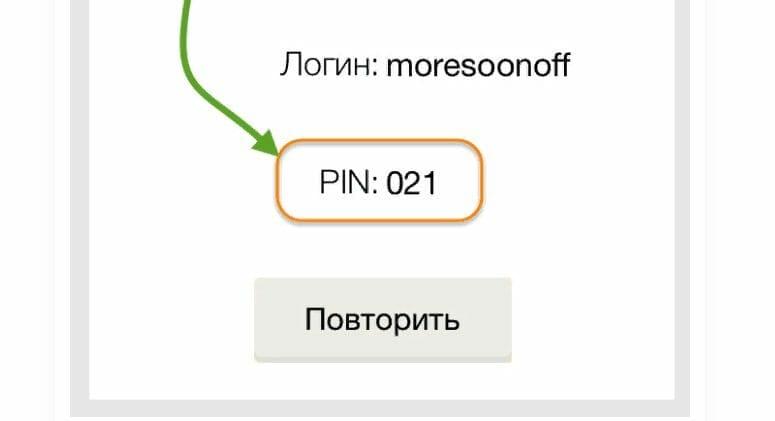 Рис. 2 ПИН-код